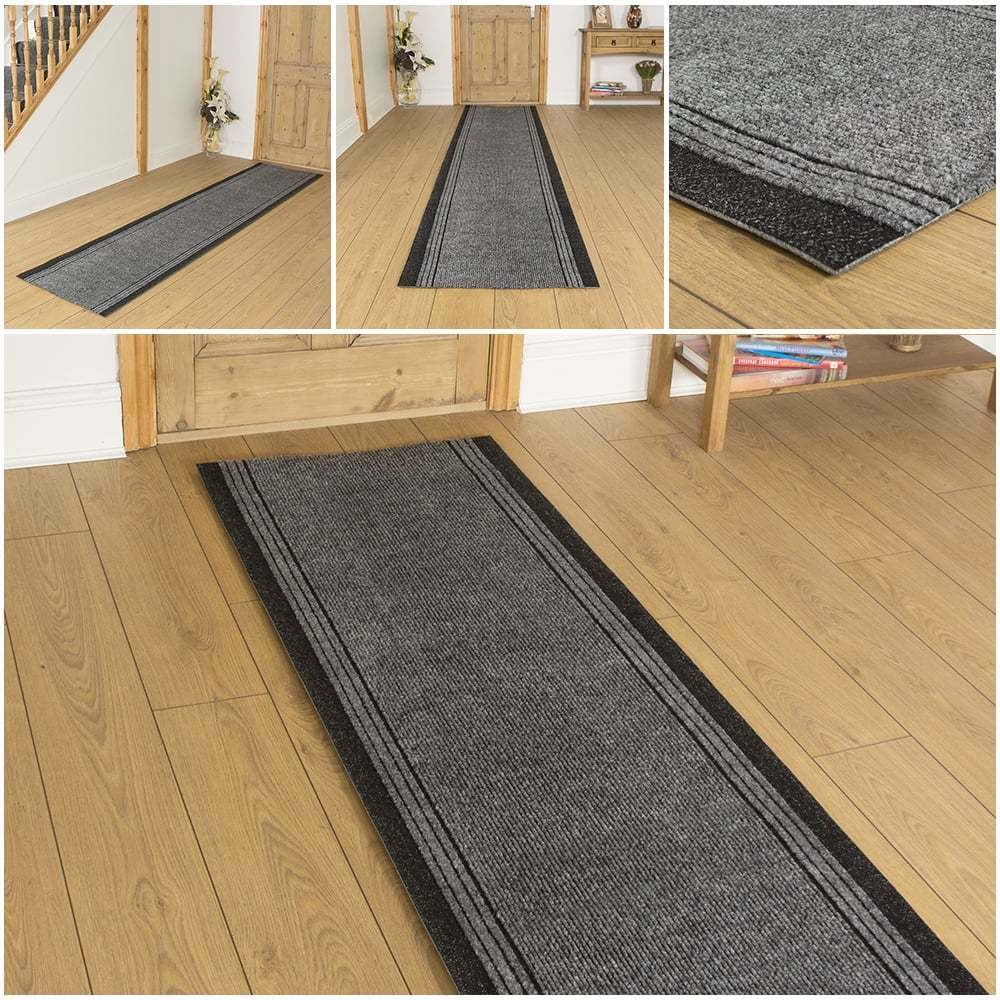 inca grey hallway carpet runner rug mat for long hall anti non slip gel back ebay. Black Bedroom Furniture Sets. Home Design Ideas