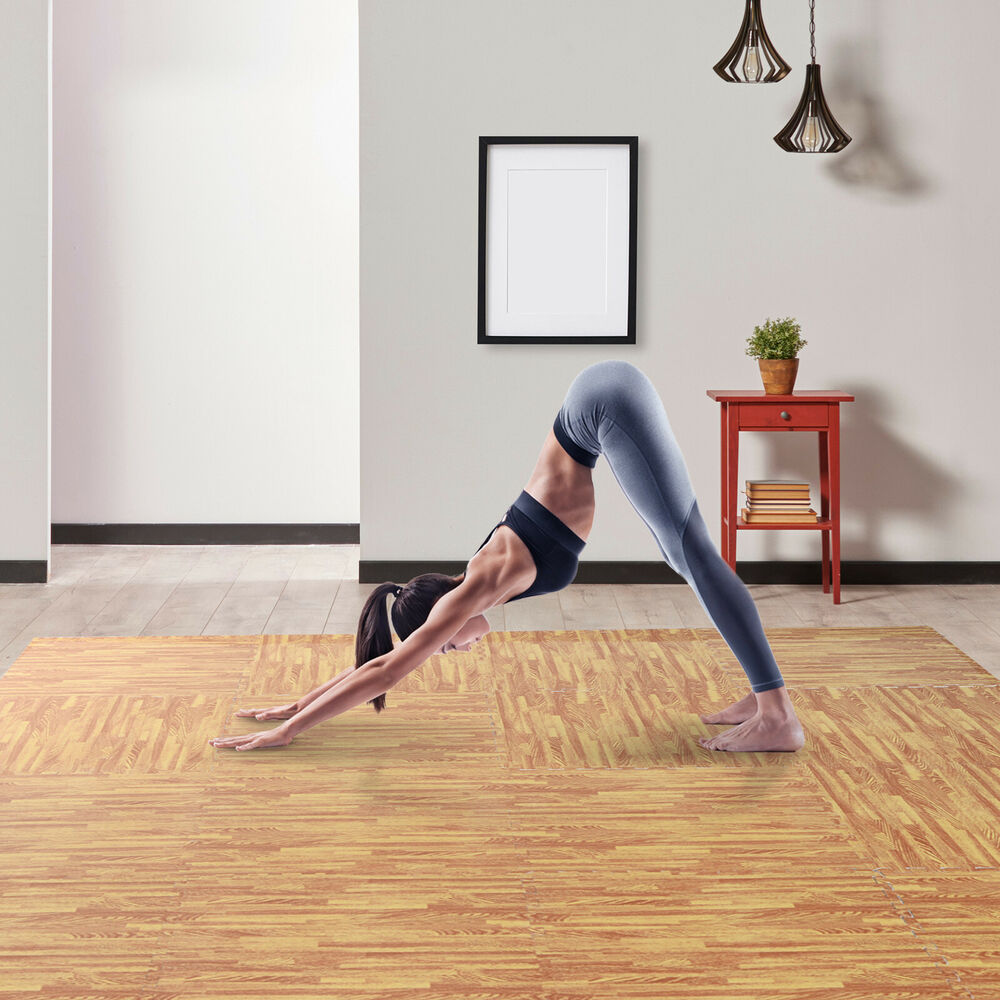 Soozier 72 SqFt Wood Grain Interlocking Floor Mats EVA