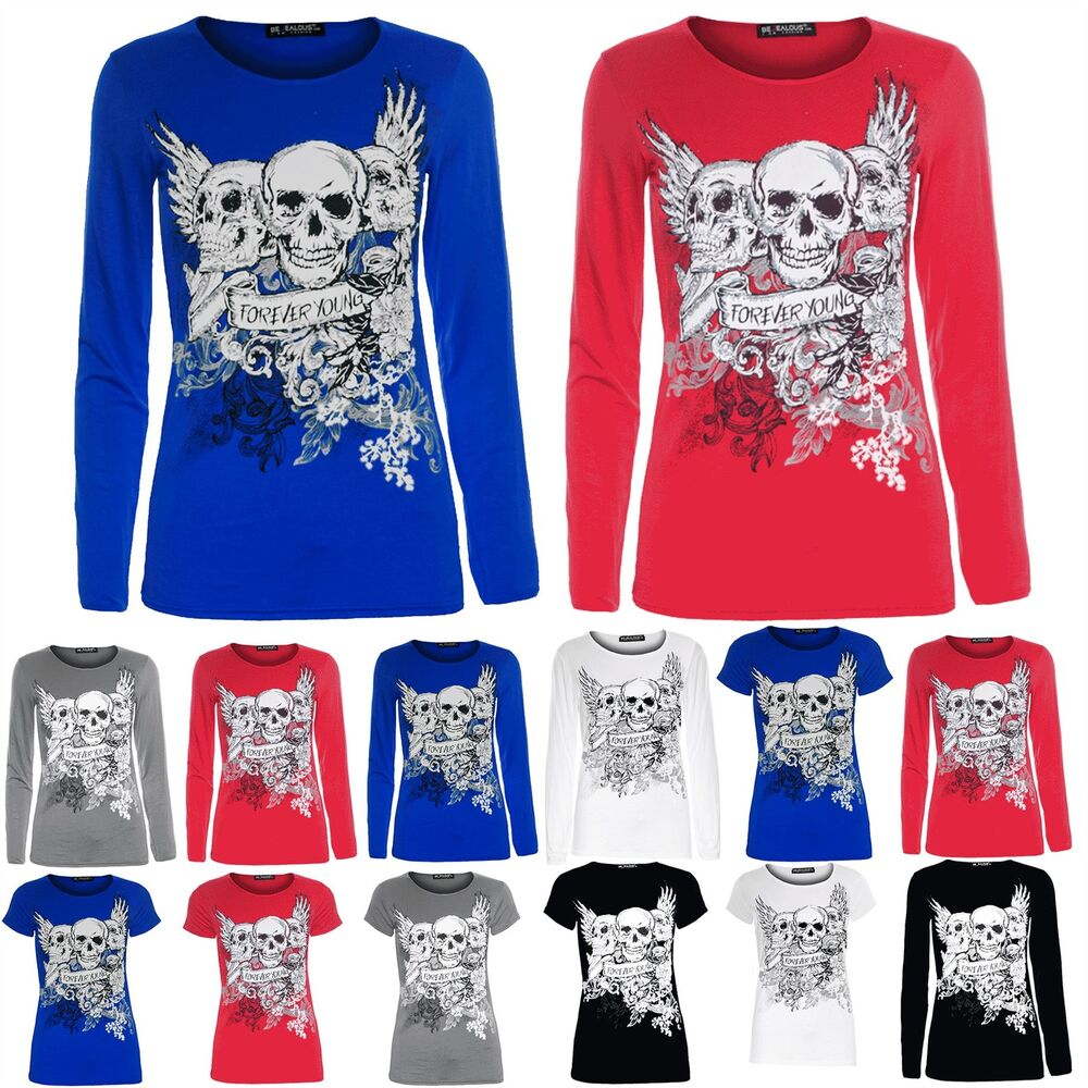 be32f2b1390 Details about Womens Ladies Glittery 3 Skull Heads Forever Young Pullover  Tshirt Top Plus Size