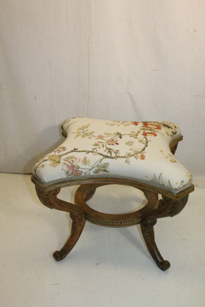 Gorgeous and decorative carved fruitwood vanity stool bench c 1920 ebay - Decorative stools and benches ...