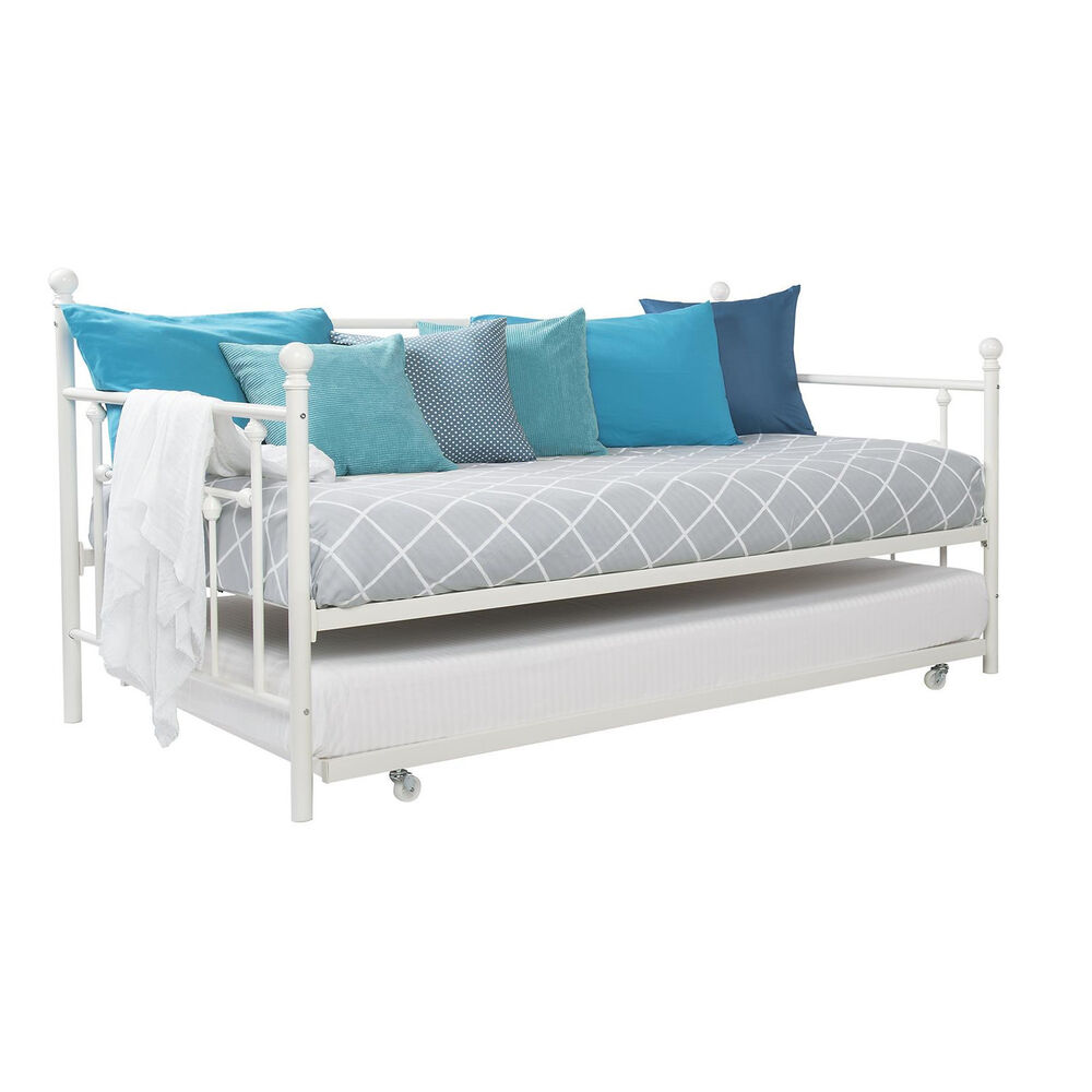 White Metal Bed Full Size Day Twin Pull Out Trundle Kids