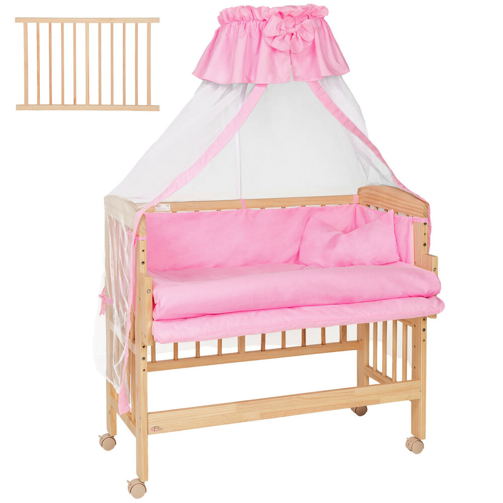 Wooden Bedside Cot Variable Height Nursery Furniture Baby Crib Pink Ebay