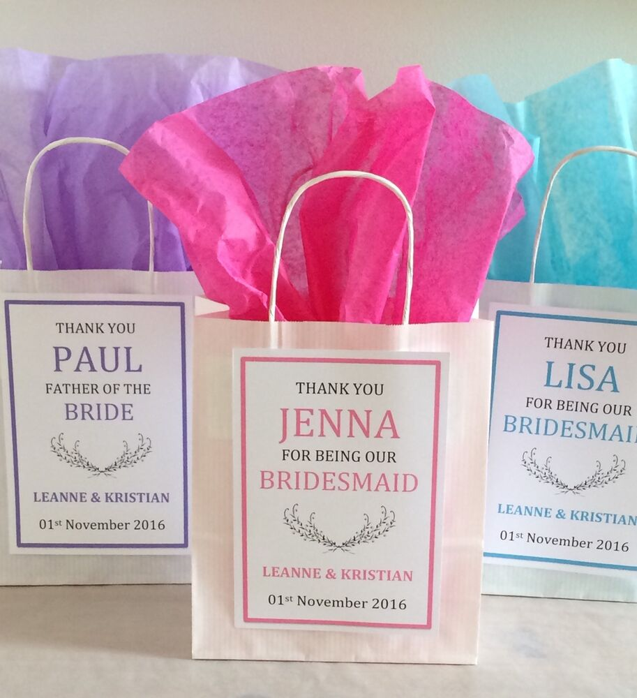Wedding Gift Paper: Personalised Vintage White Paper Favour Bags/Gift/Wedding