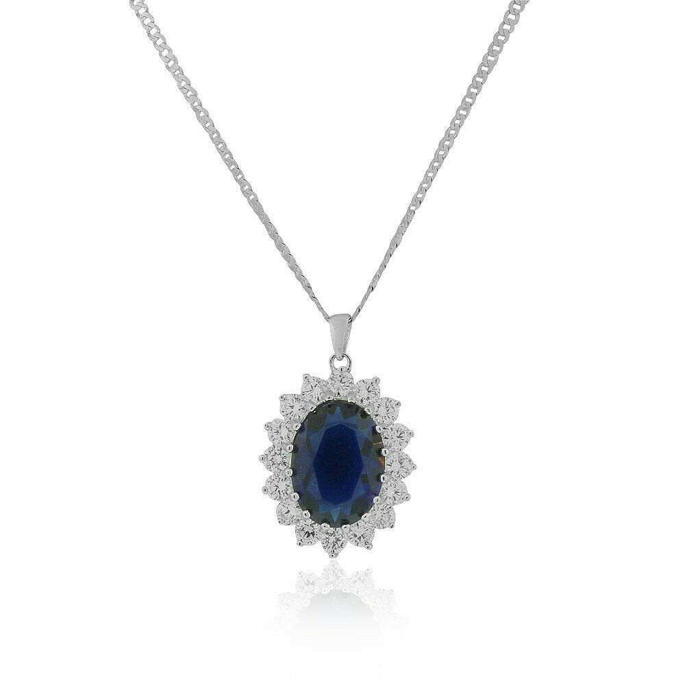 925 Sterling Silver Large Statement Oval Blue Sapphire ...