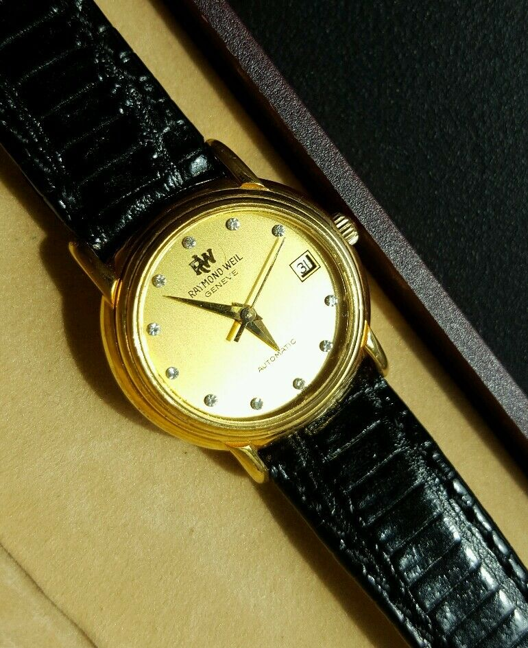 Diamond dial 18k gold plated raymond weil geneve ladies automatic watch 2611 ebay for Raymond watches