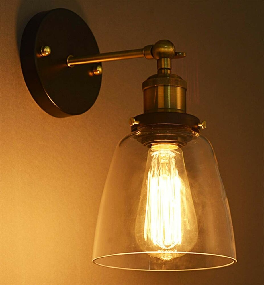 Modern Industrial Vintage Rustic Sconce Brass Indoor Glass Wall Lamp Wall Light eBay