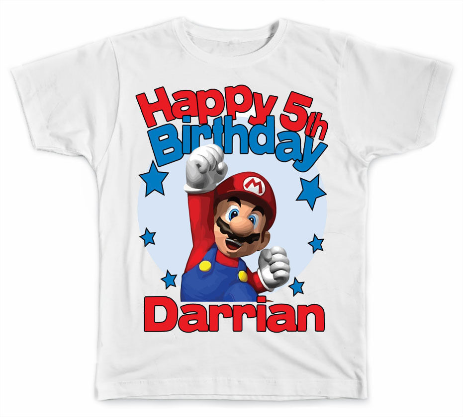 Personalized super mario brothers birthday t shirt ebay for Unique custom t shirts