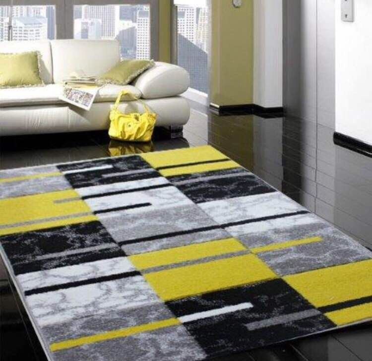 Affordable Modern Rugs: Modern Small Large Silver Grey Yellow Soft Rug Cheap Good