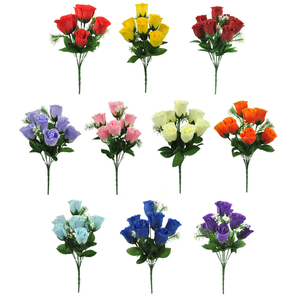 Artificial Silk Flowers Rose Bud Bunch 10 Colours Wedding Home Grave