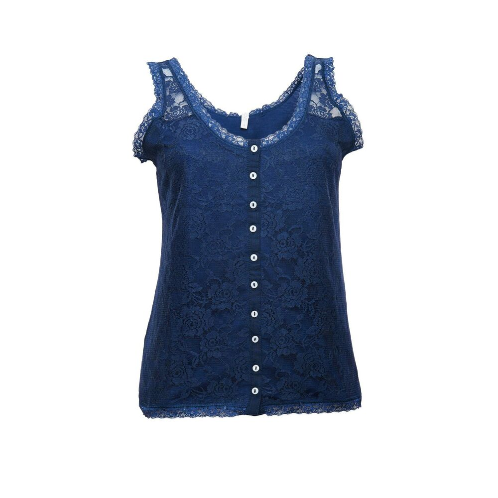 34dc8f0d64276 Ex OVS Ladies Navy Floral Lace Front Button Through Sleeveless Vest Top