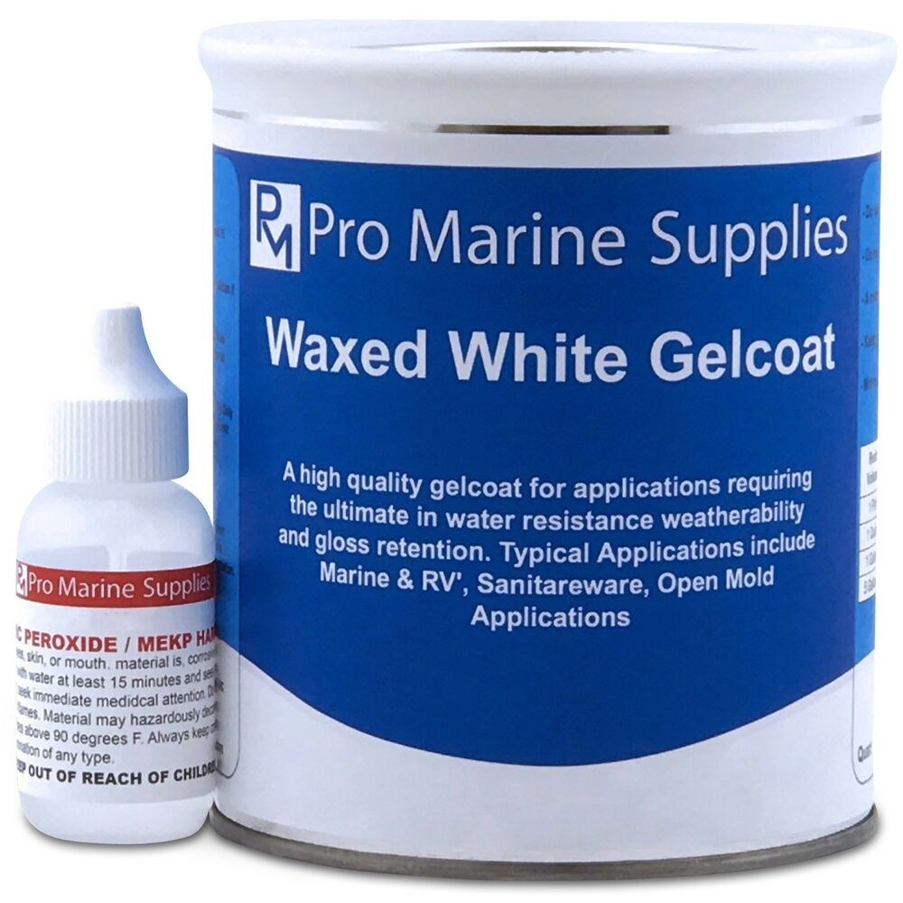 White Gelcoat With Wax And Hardener Kit Quart