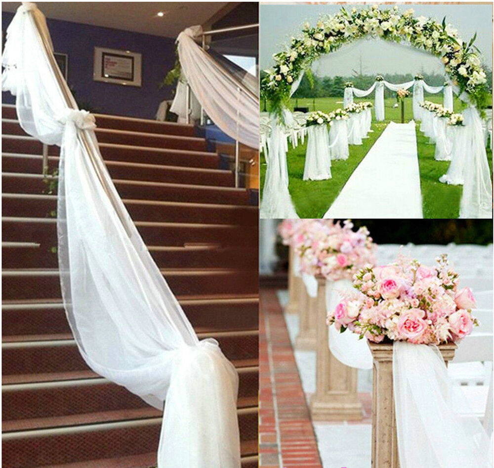 organza fabric wedding decoration 5m 10m top table chair swags sheer organza fabric 6310