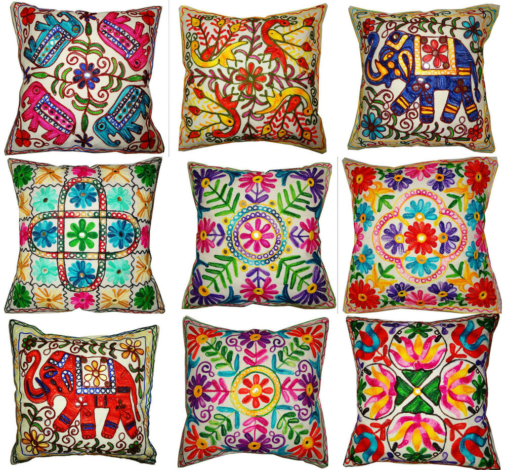 Cushion cover quot cm offwhite indian multi colour