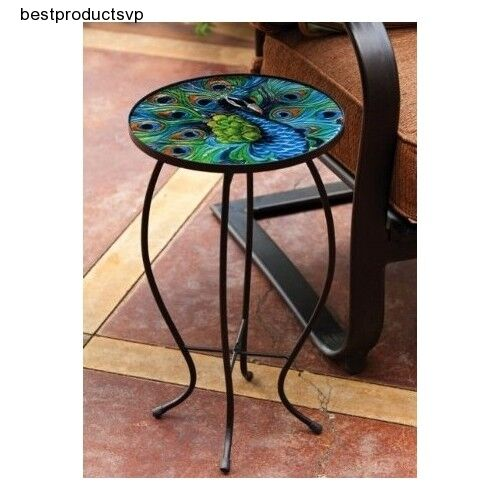 Round Metal Side Table End Glass Chairside Outdoor Bistro