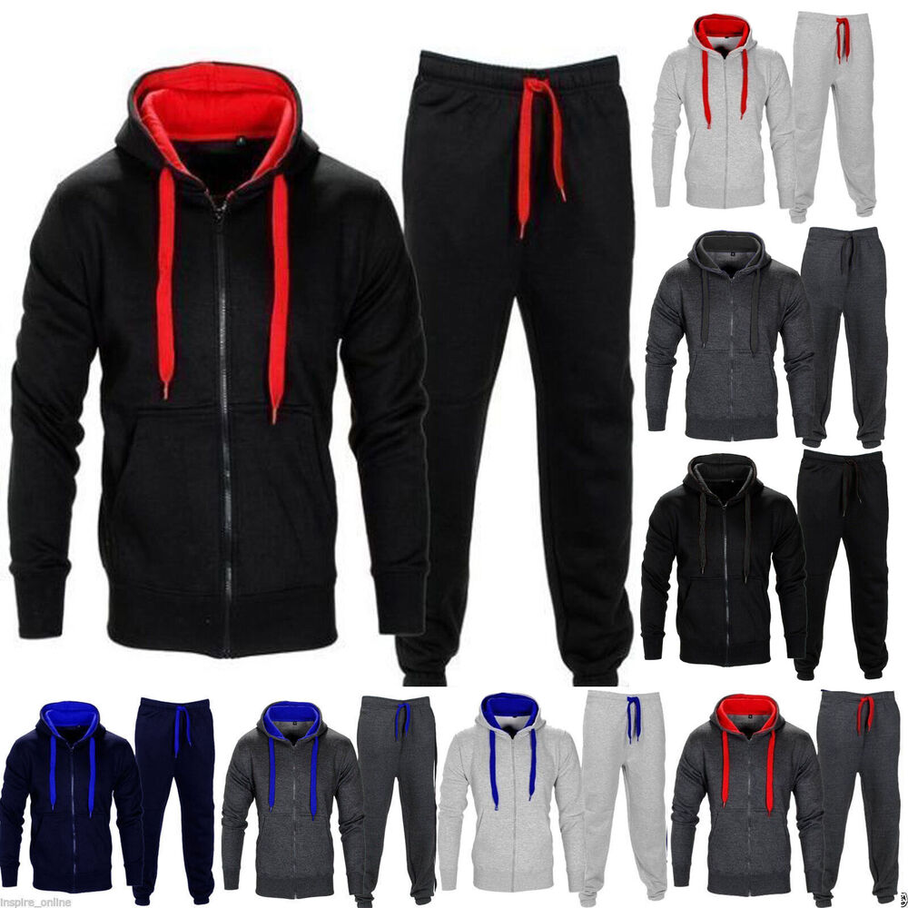 new mens tracksuit set fleece hoodie top bottoms joggers gym trackies jogging ebay. Black Bedroom Furniture Sets. Home Design Ideas