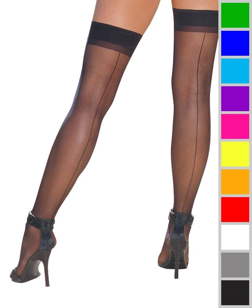 New Dreamgirl 7031 Sheer Thigh High Stockings With Back ...