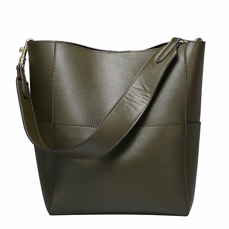 Vintage Hobo Leather Handbags Women Wide Strap Shoulder Bags Large ...