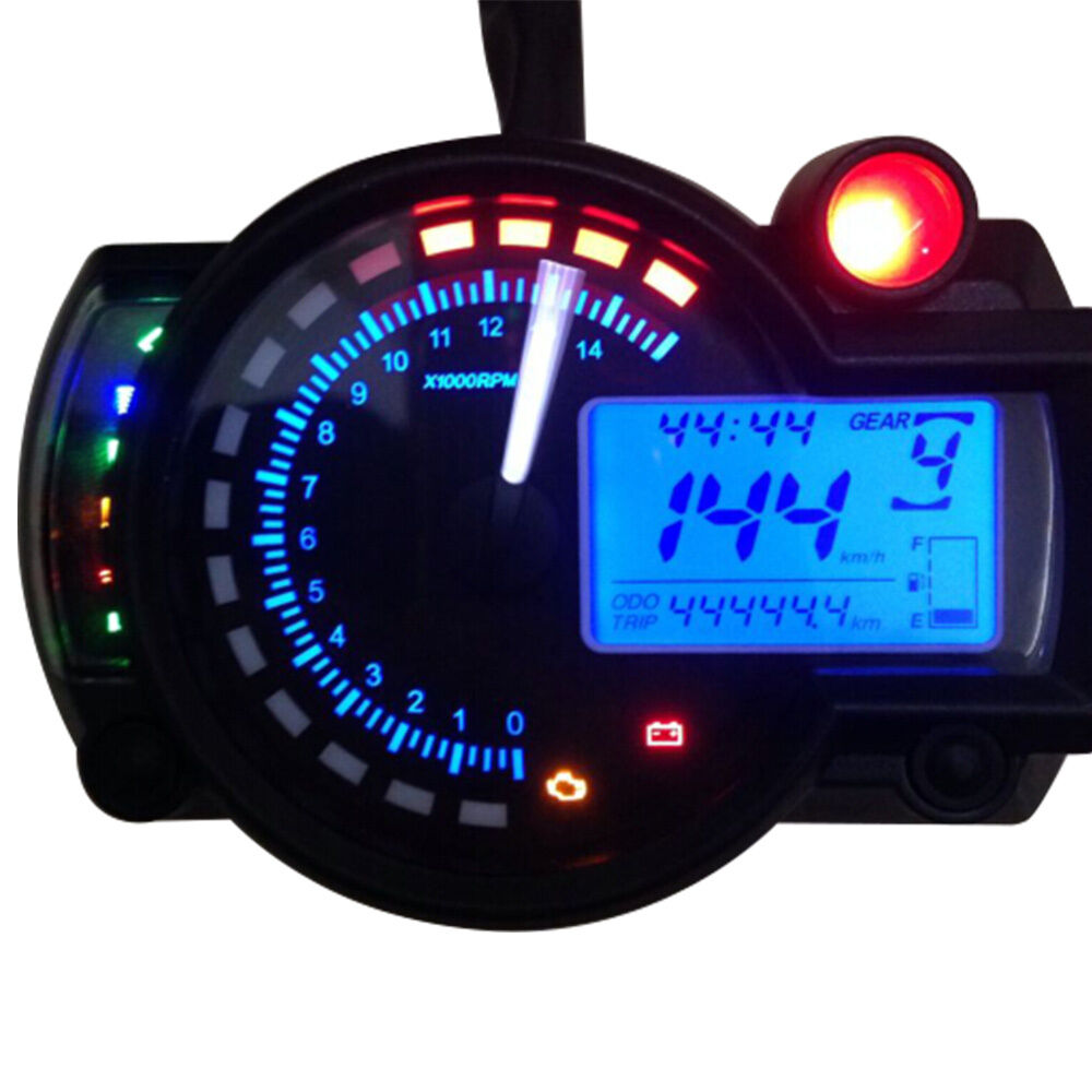 Electronic Speedometer Gauges : R universal lcd digital tachometer motorcycle