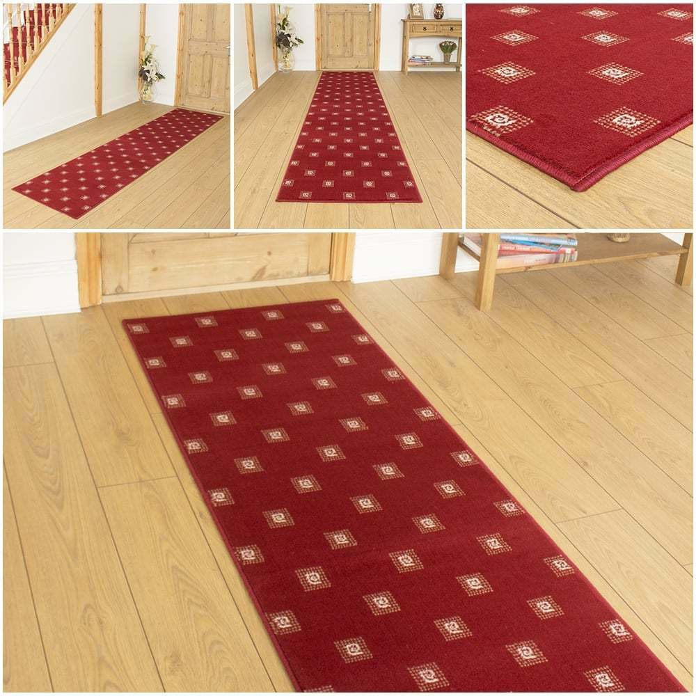 Red Foyer Rug : Square red hallway carpet runner rug mat for hall extra