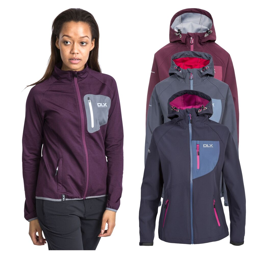 fcc88b9439 Trespass Ronda Womens DLX Softshell Jacket in Grey   Purple
