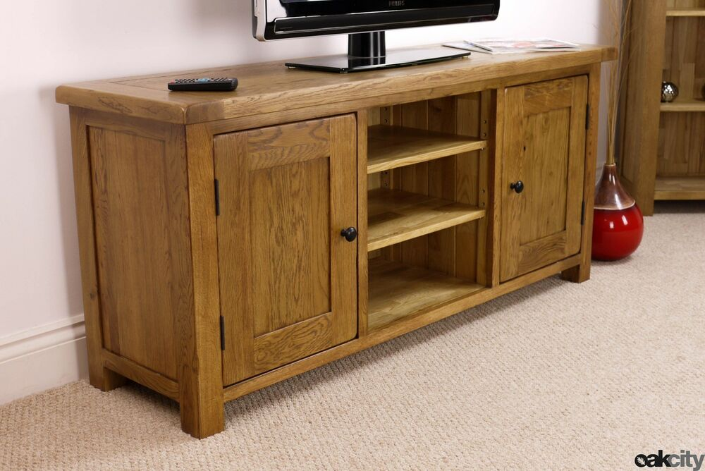 Rustic Solid Oak Extra Large TV Stand / Plasma TV Cabinet