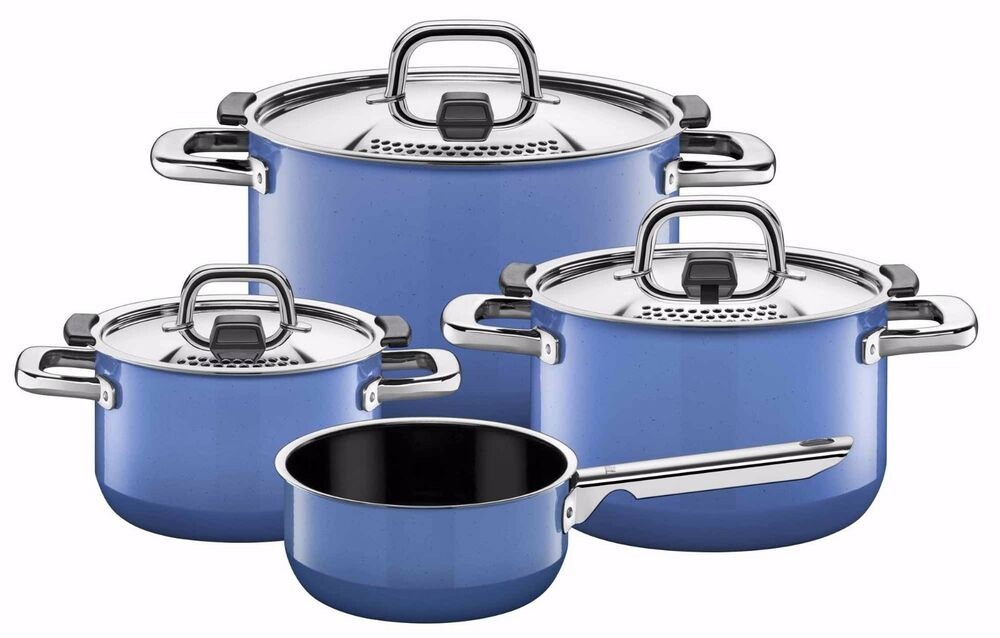 wmf silit nature 7 piece cookware set nature blue made in germany ebay. Black Bedroom Furniture Sets. Home Design Ideas