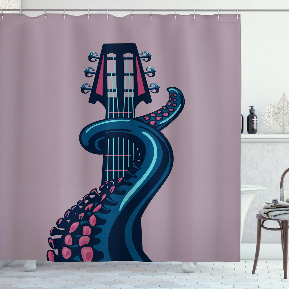 Details About Octopus Tentacle Guitar Rock And Roll Modern Musical Print Shower Curtain Set