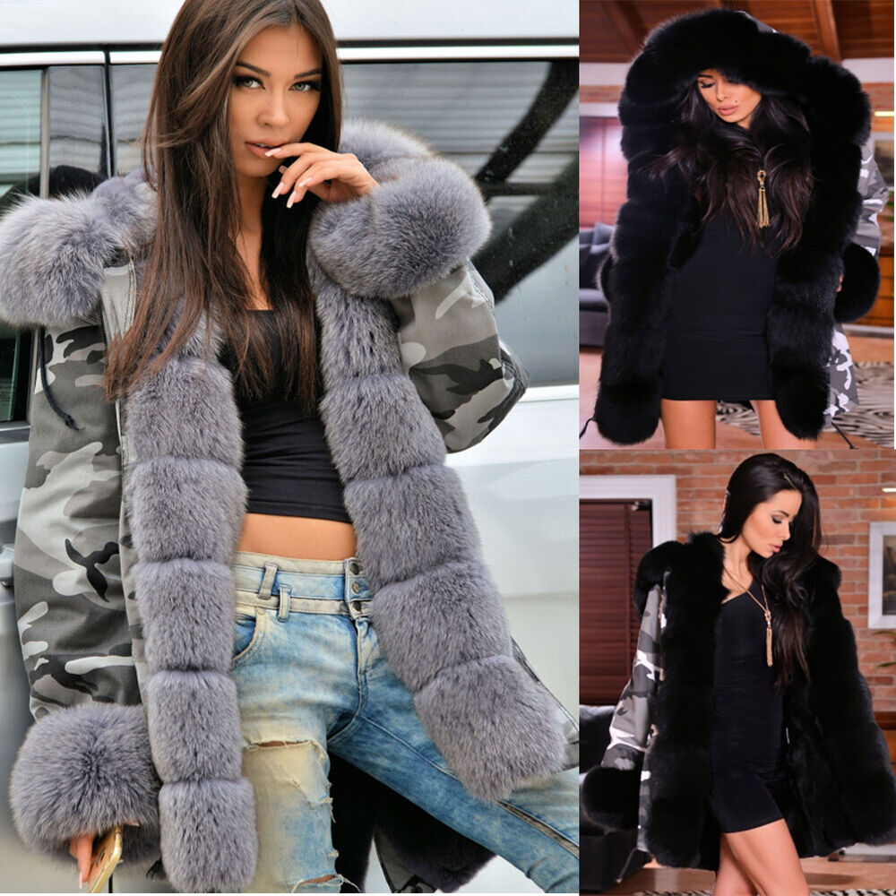 Uk Womens Winter Faux Fur Coat Military Jacket Thick Warm -8267