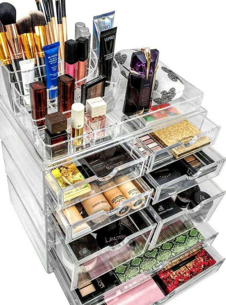 Stackable Acrylic Makeup Organizer Jewelry Storage Case