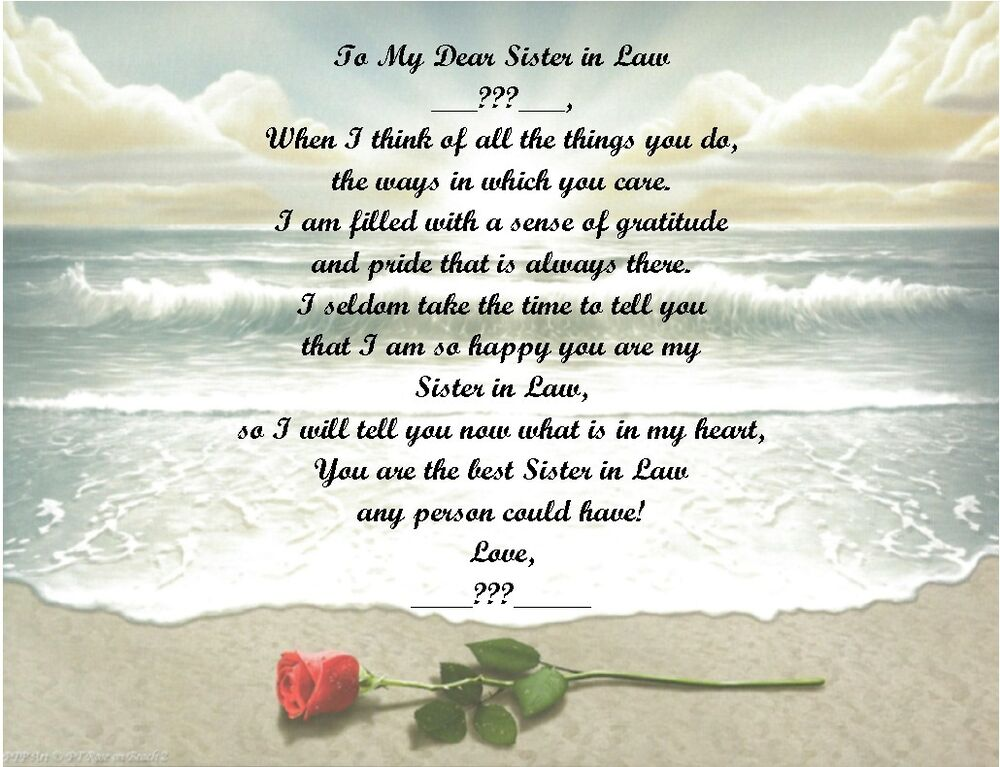 Details About Christmas Birthday Gift For Sister In Law Personalized Poem Rose On Beach
