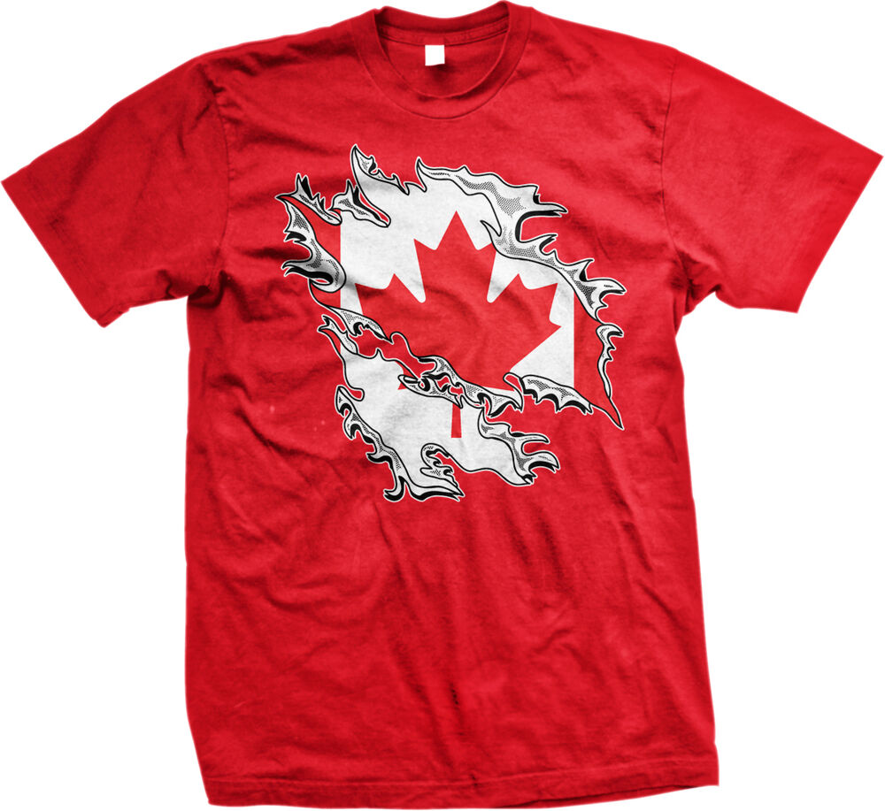 Canadian Flag Colors Canada Ripped Torn Shirt Country Team Can Mens