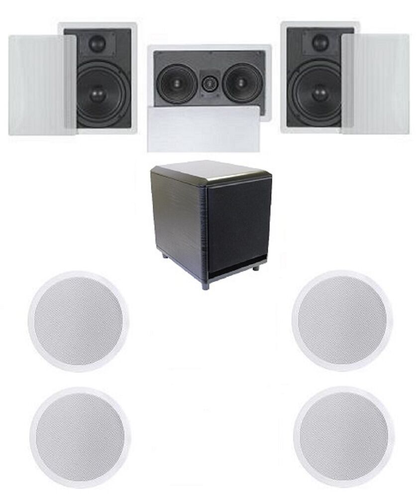 FLUSH IN-WALL/CEILING SPEAKERS 7.1 HOME THEATER SURROUND WITH 10 ...