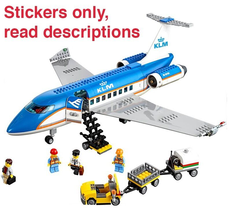 Custom Klm Stickers For 3182 Passenger Plane Airport For Lego 60022