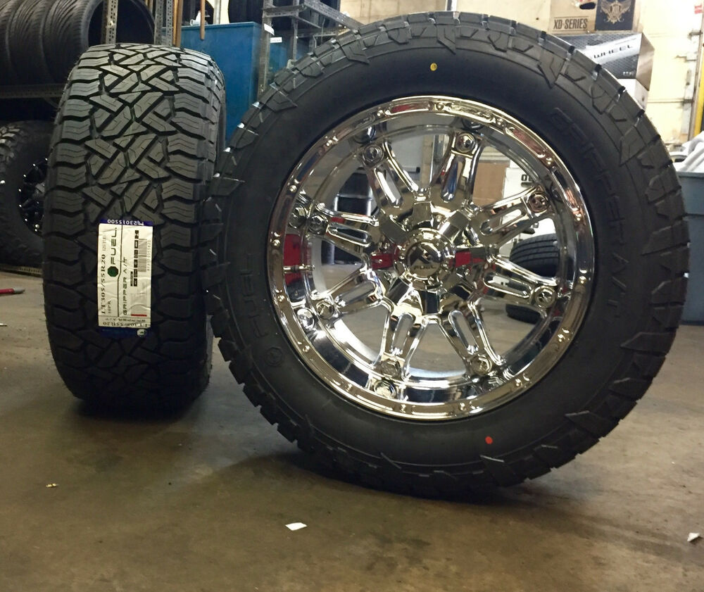 "F150 Rims And Tires Package >> 20"" 20x10 Fuel D530 Hostage Chrome Wheels RIMS 33"" AT Tires 6 lug Chevy GMC Ford 