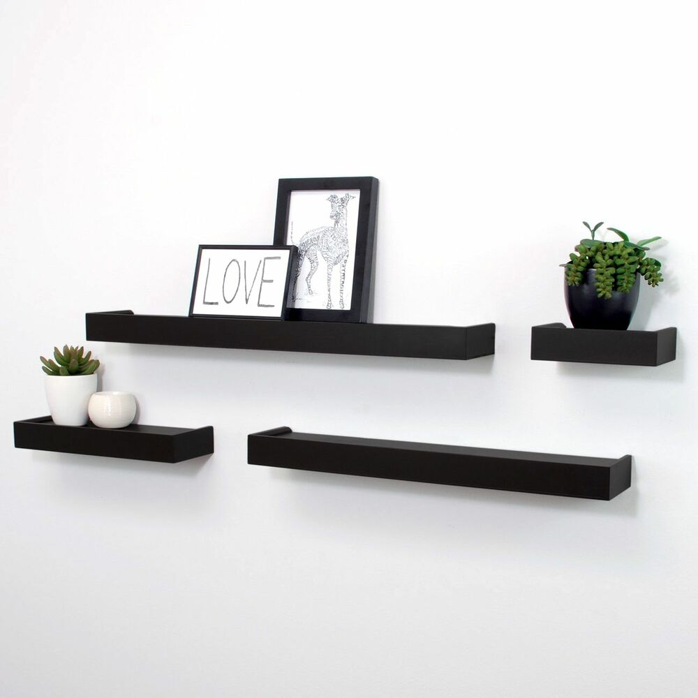 Floating Display Ledge Shelves Set Of 4 Wall Mount Shelf