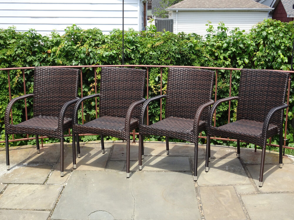 Set of 4 Patio Resin Outdoor Garden Deck Wicker Dining Arm  : s l1000 from www.ebay.com size 1000 x 750 jpeg 233kB