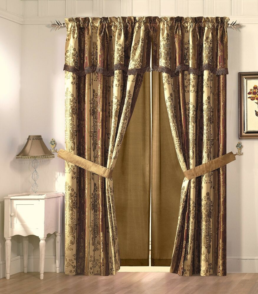 Vintage Stripe Window Curtain Gold Burgundy Floral Drape