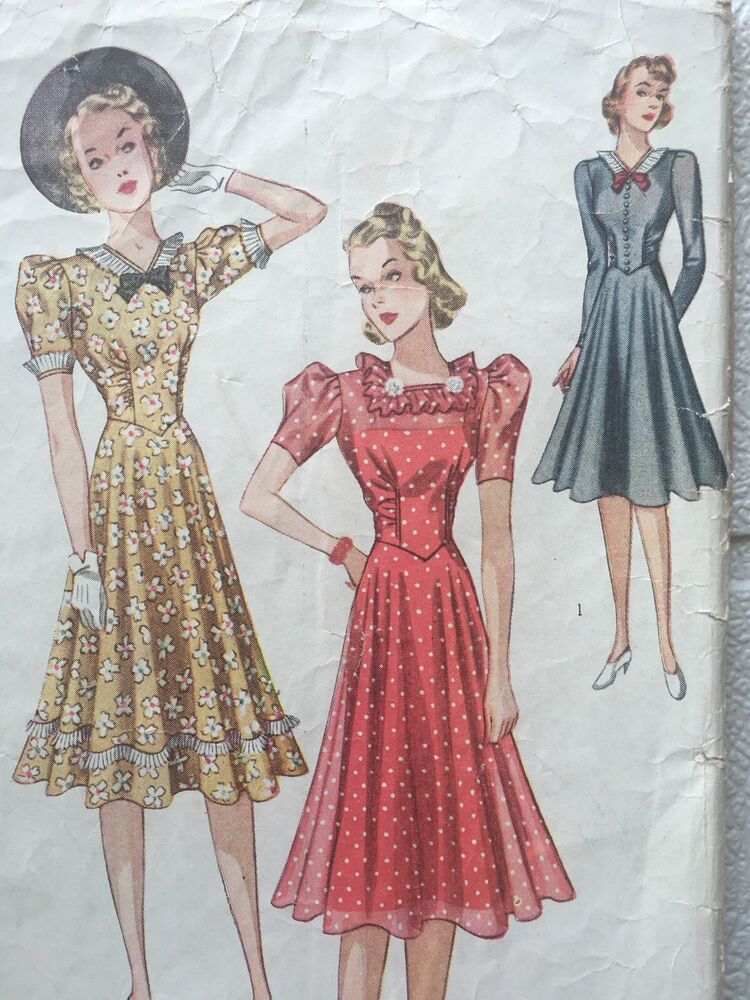 1930's Vintage Shaped Midriff Dress Simplicity Sewing ...
