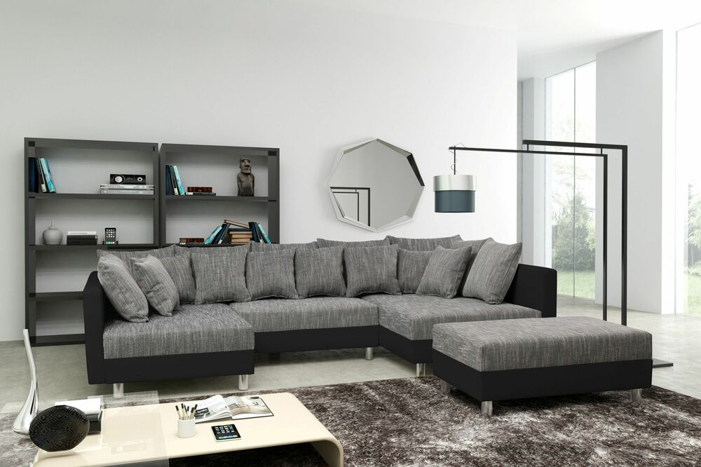 sofa couch ecksofa eckcouch in schwarz hellgrau eckcouch mit hocker minsk xxl ebay. Black Bedroom Furniture Sets. Home Design Ideas