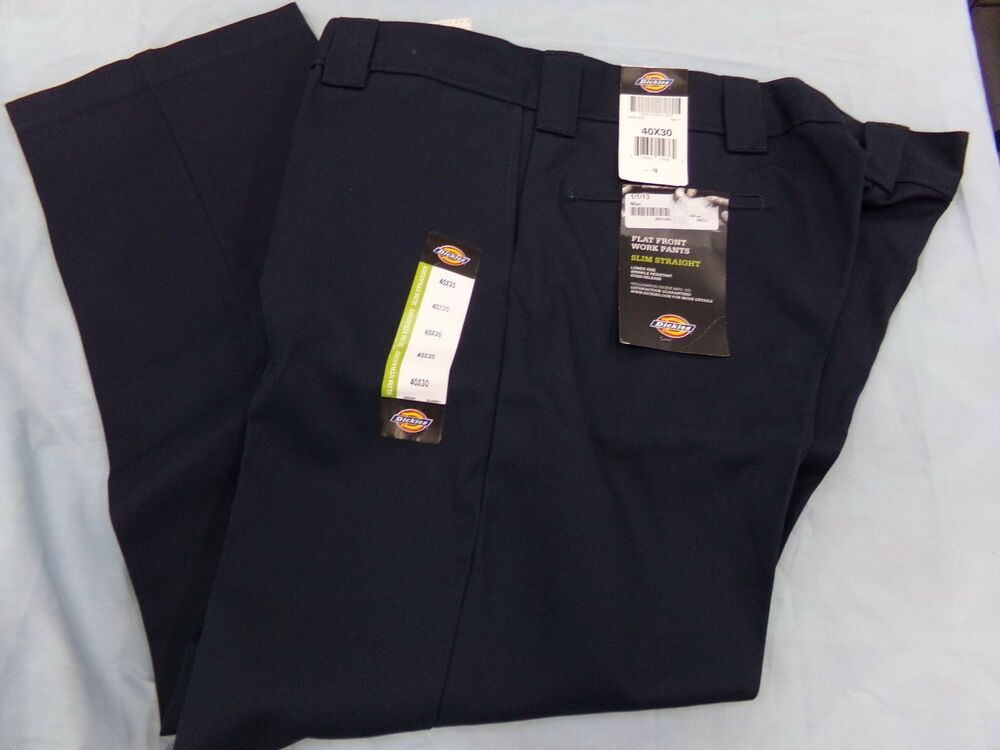 Mens Size 40x30 Dickies Navy Blue Work Pants Flat Front