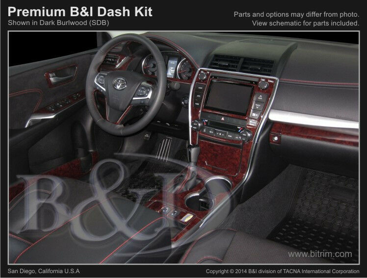 wood grain dash kit fits toyota camry 2015 2017 in dark burlwood color ebay. Black Bedroom Furniture Sets. Home Design Ideas