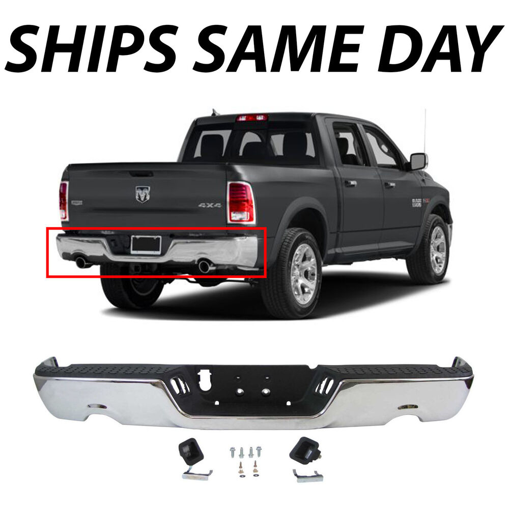 New Complete Steel Chrome Rear Step Bumper Assembly For
