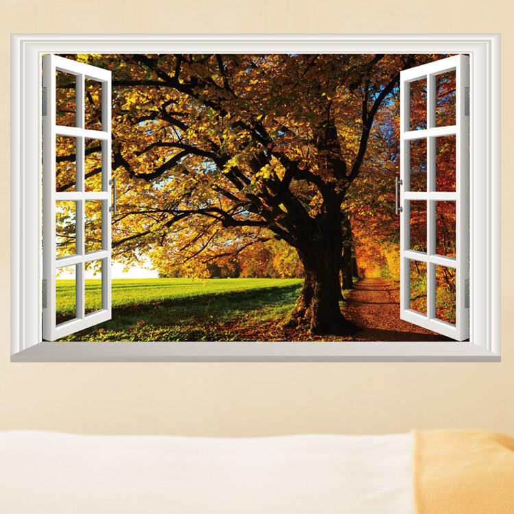 Fall trees view 3d window wall sticker removable pvc home for Decoration fenetre pvc