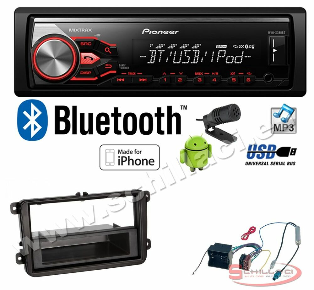pioneer mvh 390bt autoradio usb bluetooth kit montaggio per skoda fabia s ebay. Black Bedroom Furniture Sets. Home Design Ideas