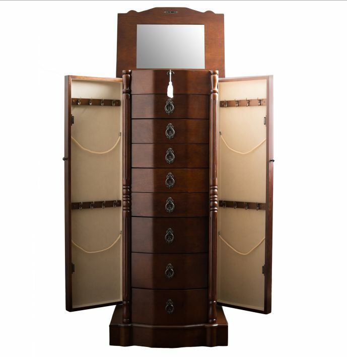 Jewelry box armoire walnut lock mirror tall stand wood