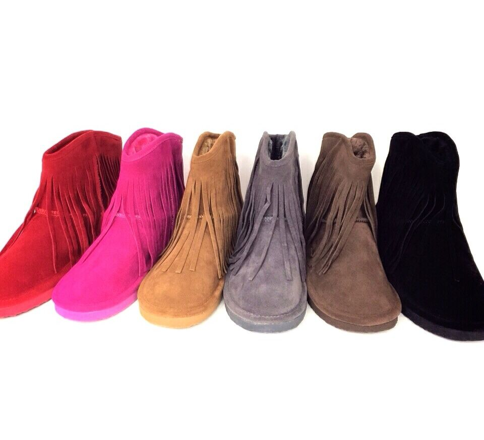 new fringe suede ankle boots ebay