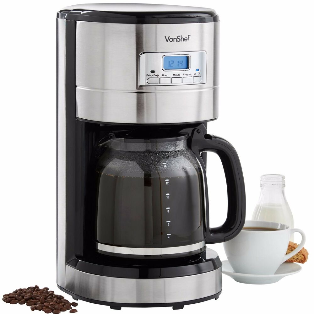 VonShef 14 Cup Digital Filter Coffee Maker Machine Programmable Automatic 1.8L eBay