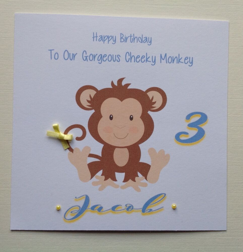 Details About PERSONALISED Handmade BIRTHDAY CARD Grandson Son Nephew 1 2 3 4 CHEEKY MONKEY