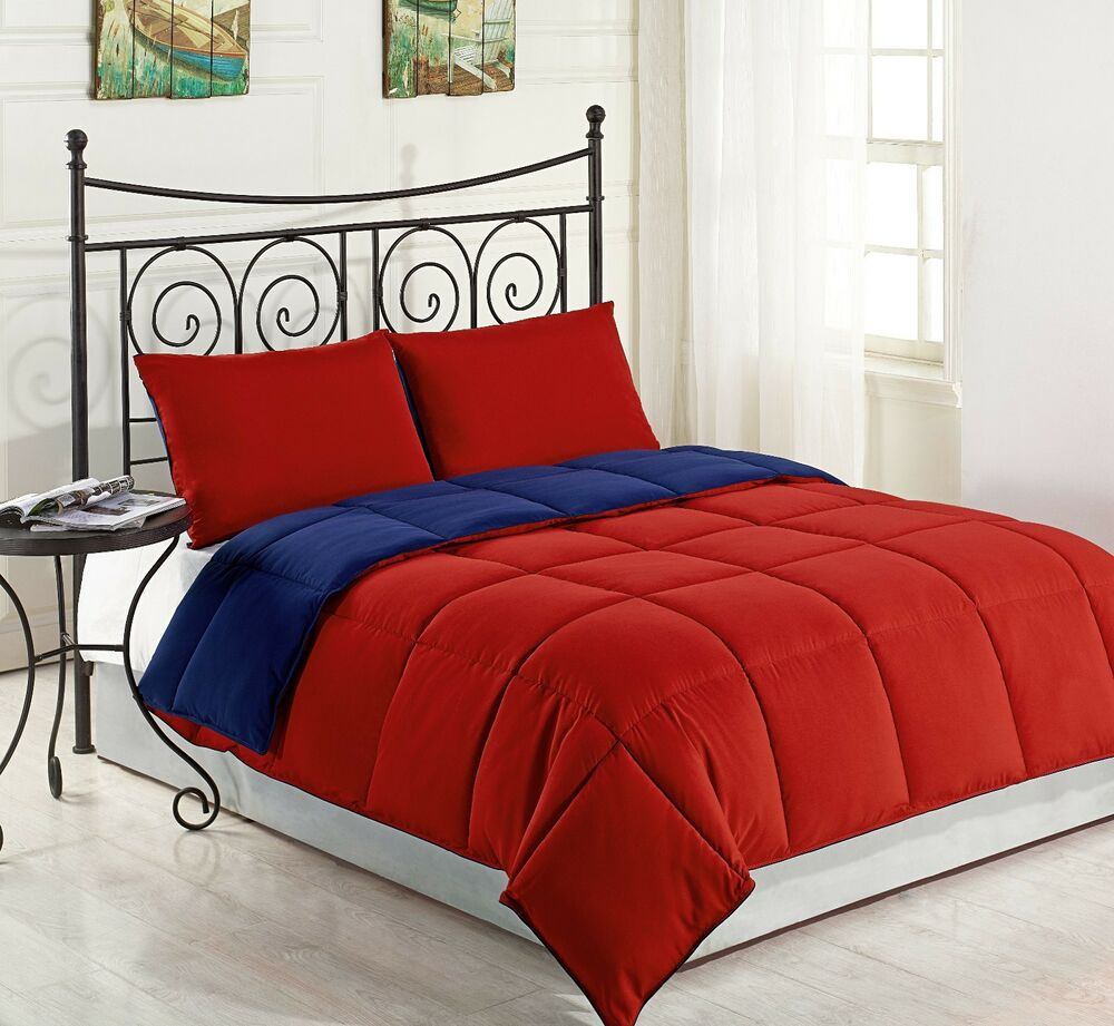 Red Navy Blue 3pc King Size Bed Comforter Set Reversible