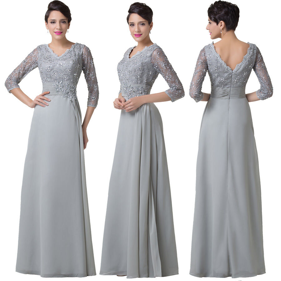Bride Mother Dress: Wedding Mother Of The Bride LACE Grey Evening Dress Long